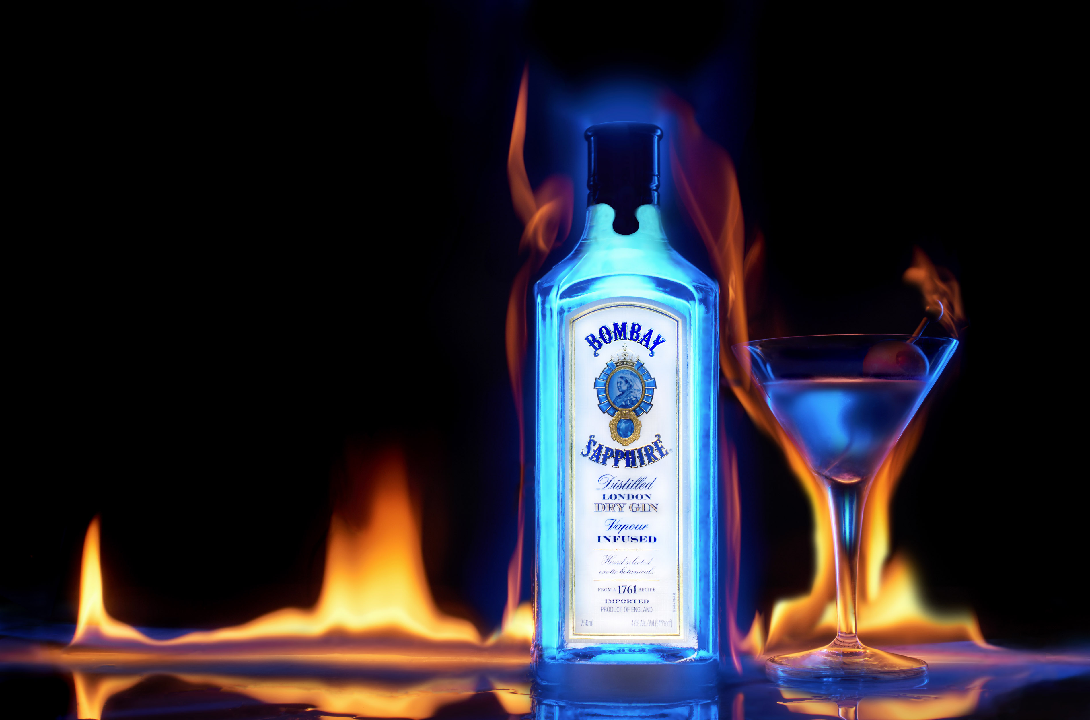 Bombay Sapphire Martini Fire | Steve Hansen Images Seattle Food Photographer