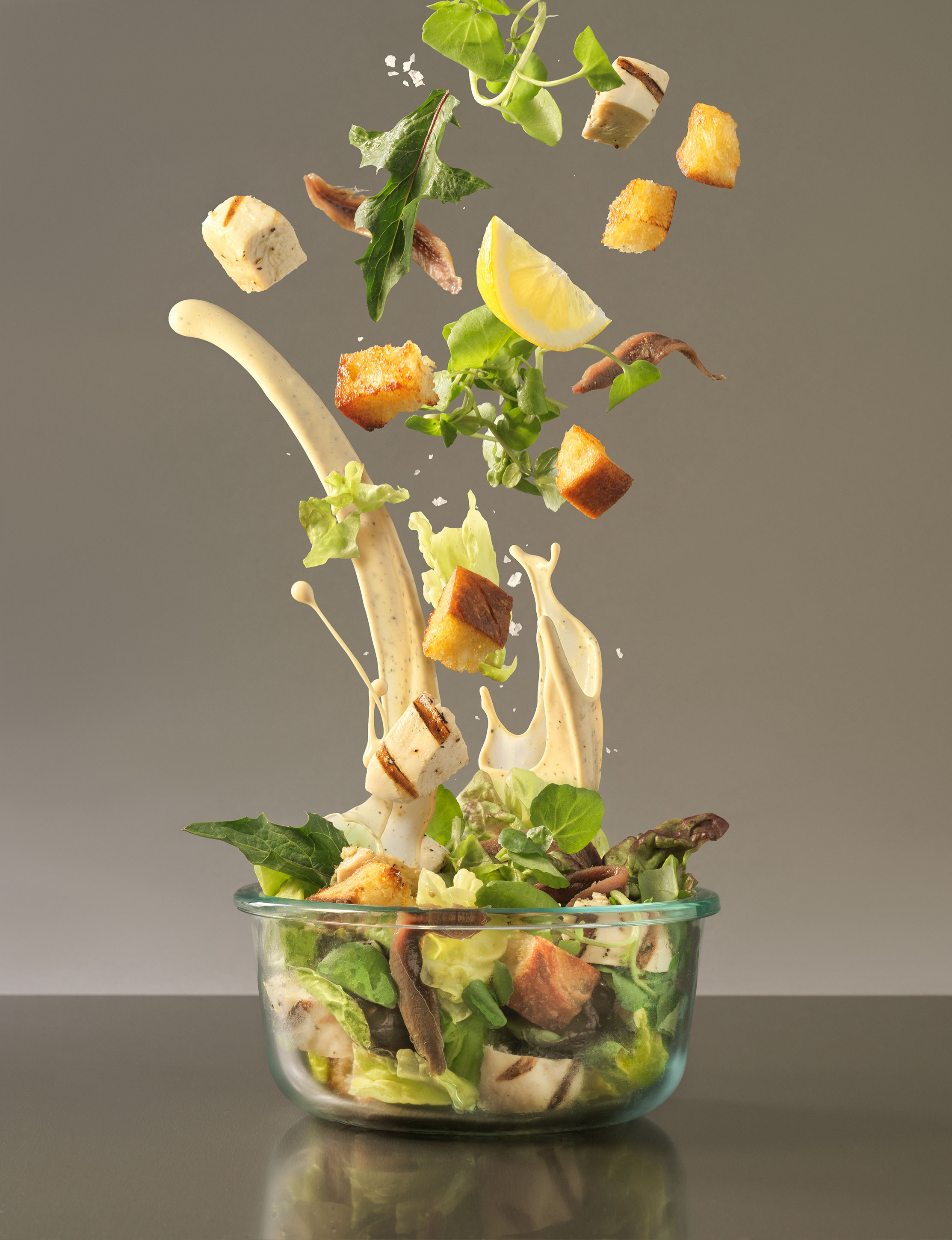 Caesar Salad Splash | Steve Hansen Seattle Food Photographer