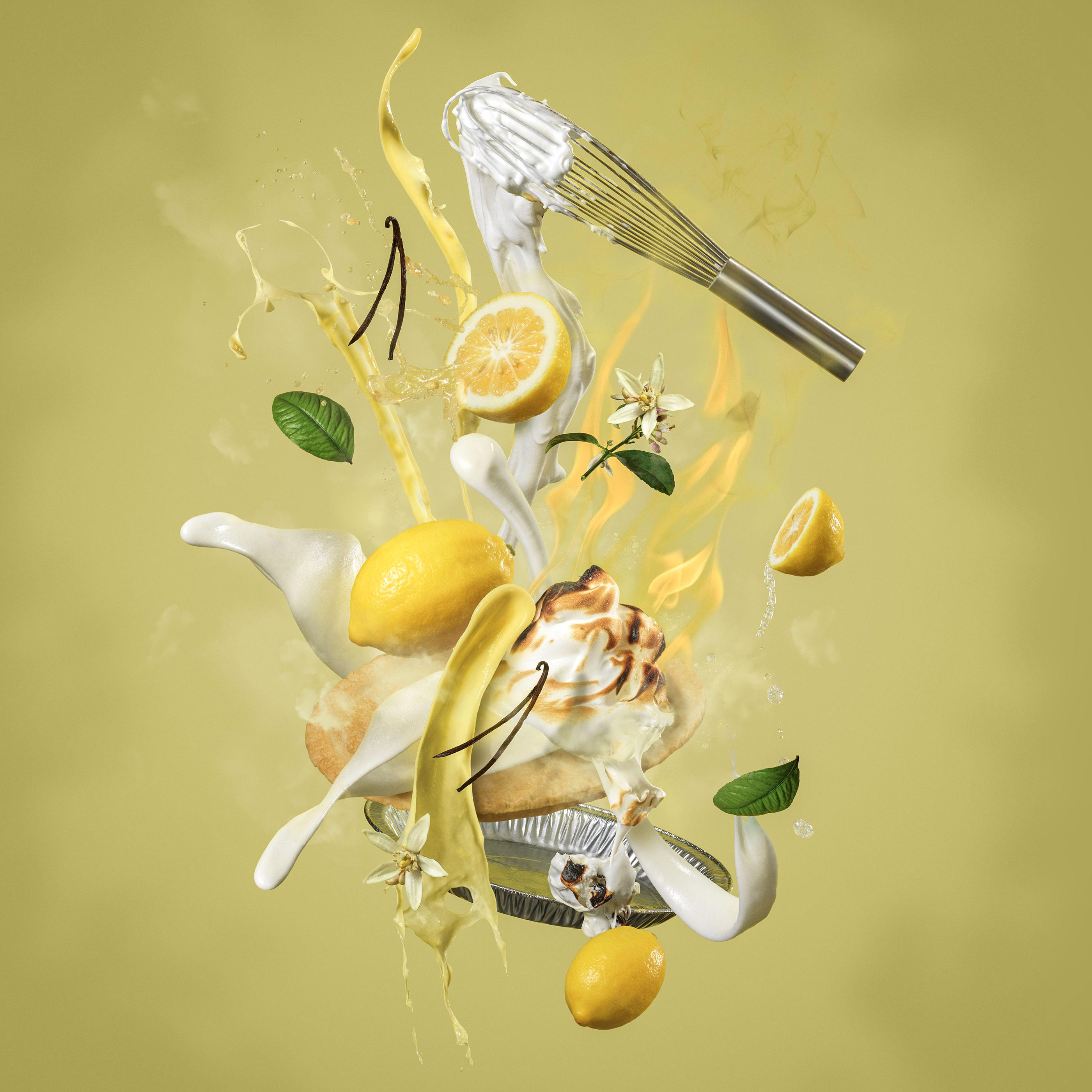 Lemon Meringue Pie Splash | Steve Hansen Seattle Food Photographer